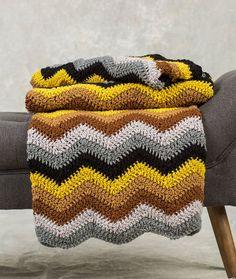 Radiating Ripple Throw Free Crochet Pattern in Red Heart Classic Yarn Crochet Ripple, Manta Crochet, Crochet Yarn, Crochet Stitches, Crochet Blankets, Crochet Scarfs, Afghan Crochet Patterns, Knitting Patterns, Crochet Afghans