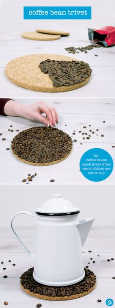 Spruce up your home with these easy DIY trivets! The coffee beans will fill your home with a rich aroma, perfect for any coffee lover.  Use a hot glue gun to attach coffee beans to a cork trivet and cover in resin to fill in any gaps.