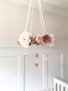 Mauve & blush nursery flower mobile crib mobile baby by RosyRilli - Before After DIY Blush Nursery, Flower Nursery, Nursery Room, Baby Girl Nursery Pink And Grey, Nursery Ideas, Themed Nursery, Baby Girl Nurseries, Girl Nursery Decor, Gray Nurseries