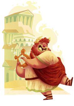 illustration digital painting drawing ancient rome nero emperor happy singing fat guy mascot watercolor