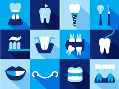 Each icon is a representation of the service that the dental clinic offers, when the user hovers over, the name of that service will show up.