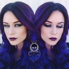 No guts, no glory! Royal blue and purple hair color by Rickey Zito; makeup by Brandi Zito of HeadRush salon. #hotonbeauty instagram.com/hotonbeauty