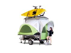 "SylvanSport GO Camping Trailer | $8,495 | The ultimate traveling companion, most versatile pop-up camper on market, named by Nat Geo Adventure as ""Coolest Camper Ever."" At < 850#, tows behind any virtually any vehicle, incl hybrids; interior config 6 diff ways; 6'4"" headroom; built-in 10.5' x 7' King-and-a-half-sized mattress; bug-proof; waterproof; eco-friendly (made w/recycled materials); holds bikes, kayaks, etc; 200D rip-stop polyester tent."