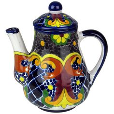 This talavera tea pot in the Yellow Cross pattern is lead-free and safe for serving food and using as dinnerware. Our Mexican Talavera serving pieces are handmade and hand painted by Mexico's ceramic potters.  $56.70