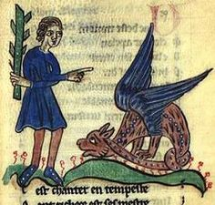 An asp, depicted with wings as it often is, blocks one ear with its tail to avoid hearing the the man. Bestiaire; Philippe de Thaon, England, c 1300.