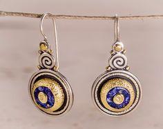Gold lapis earrings Lapis Lazuli Earrings gold by GefenJewelry Lapis Lazuli Earrings, Gemstone Earrings, Silver Earrings, Dangle Earrings, Statement Earrings, Jewelry Art, Unique Jewelry, Gemstones, Gold