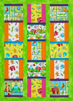 Two-Block Kid's Quilt  Animal-theme novelty prints make an easy, kid-friendly crib quilt. Coordinating tone-on-tones round out the look.