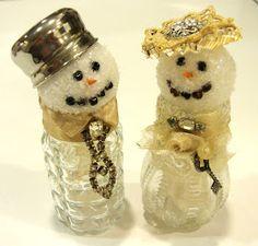 Shabby Tea Party: S & P Shaker Snowpeople. Christmas Mantels, Christmas Items, Christmas Love, Christmas Snowman, Christmas Projects, Vintage Christmas, Christmas Ornaments, Sequin Ornaments, Christmas Patterns