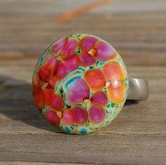 Blooming Garden KO Lampwork Cabochon Ring Top by koregon on Etsy, $26.99