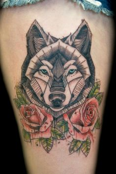 My lovely geometric wolf tattoo by Derick. #thigh #tattoo #thightattoo #geometrictattoo #wolf #watercolor #watercolorroses #roses #girlswithtattoos