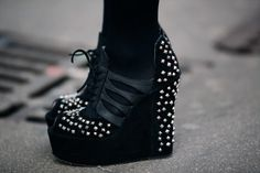 studded wedges... now I imagine how tall I am if I wear this..
