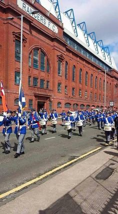 Pride of Govan FB marching past Ibrox