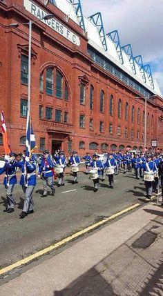 Pride of Govan FB marching past Ibrox