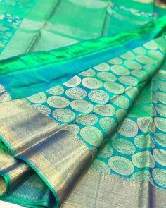 Pure Kanchipuram silk sarees at weavers price pl contact us at for more collections and details Bridal Sarees South Indian, South Silk Sarees, Blue Silk Saree, Wedding Silk Saree, Wedding Mehndi, Pink Saree, Wedding Saree Blouse Designs, Pattu Saree Blouse Designs, Half Saree Designs