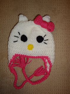 Custom Made Hello Kitty Hat/Beanie sizes Newborn  by puzo2352, $26.00