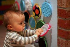 DIY Wall Mounted Sensory Boards Baby Sensory Board, Sensory Wall, Sensory Boards, Sensory Activities, Infant Activities, Activities For Kids, Diy Sensory Toys For Babies, Infant Sensory, Toddler Play