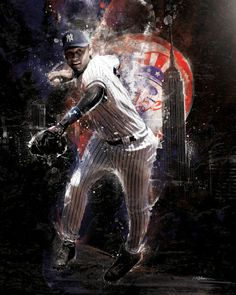 Artist Mike Harrison captures Yankee captain, Derek Jeter. Jeter is featured over the NY skyline along with other design elements capturing the energy and dynamic nature of Jeter's play.