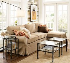 Pottery Barn Sectional with Chaise in walnut brushed canvas