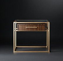 RH's Kennan Bedside Table:A single wooden drawer suspended within a slender metal frame anchors our elegant nightstand by Anthony Cox. Reflecting the spare lines of the its openwork design occupies a minimum of visual space.SHOP THE ENTIRE COLLECTION ▸ Art Deco, Furniture Vanity, Furniture Design, Sofa Furniture, Console Table, Bedside Tables, Wooden Drawers, Night Table, Wall Art For Sale