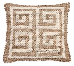 One Kings Lane - Spring into Style - Greek Key 20x20 Pillow, Natural