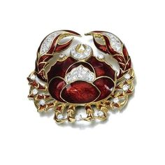 Red enamel and diamond brooch, David Webb