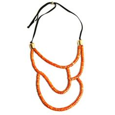 New statement jewelry - Valparaíso Necklace in vibrant orange & black suede