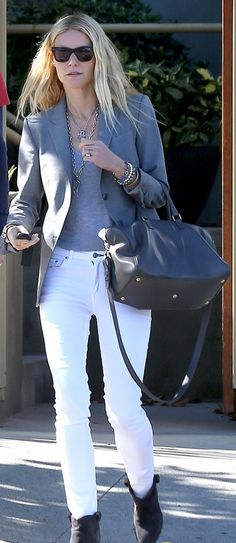 White pants, gray t, gray blazer, booties. Spring, summer, fall