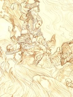 The Silmarillion: The Fall of Glorfindel (lineart) by Justin Gerard