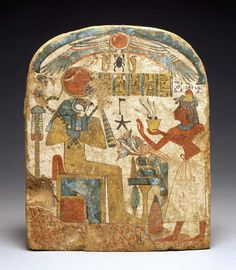 Egyptian stela depicting the Deceased before Horus | 18th Dynasty, New Kingdom.  © The Fitzwilliam Museum, Cambridge, UK.