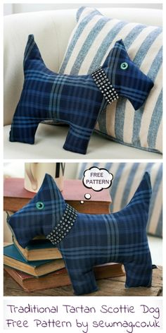 Best 12 Traditional Tartan Scottie Dog on sew&style great for lot of free patterns. Doll Sewing Patterns, Sewing Toys, Free Sewing, Fabric Patterns, Sewing Crafts, Sewing Projects, Fabric Toys, Fabric Art, Fabric Scraps