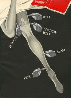 Fully Fashioned Stockings are wonderful vintage stockings that are softer, smoother, more elegant and more luxurious than anything being made today. This graphic shows the characteristic parts of a fully fashioned stocking. Vintage Stockings, Silk Stockings, Stockings Heels, Vintage Advertisements, Vintage Ads, Vintage Posters, Vintage Glamour, Retro Advertising, Vintage Models