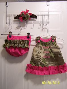 Realtree Max-1 Camo A-Line Dress/Jumper, Ruffle Butt Diaper Cover, Flower Hair Band. #handmade #realtreecamo #realtreebaby