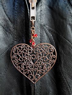 Large Filigree Heart Zipper Charm in Copper Color – Robin Harley 30% off all zipper charms Coupon Code SALETOBER all October long!