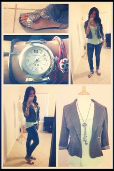 My look! Blazer from #forever21 top from #express jeans from #zara shoes from #target bracelets from #claires for fashion tips and ideas www.youtube.com/InTouchChic