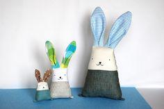 "12"" fabric bunny rabbit, stuffed bunny toy, soft plush bunny, linen bunny animal, cuddle toy, baby shower gift, baby toddler toy by Jumatamade on Etsy"