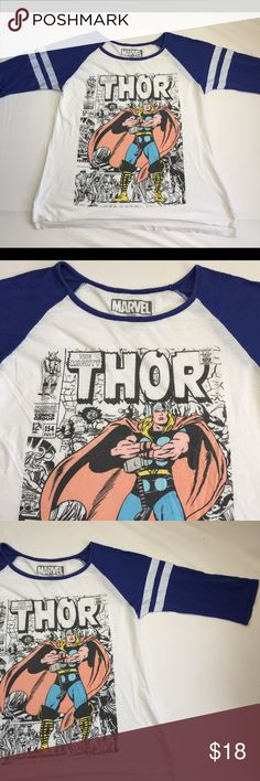 Cartoon Thor Baseball Tee Worn shirt very comfy! PLEASE NO TRADES! NO P PA L! NO MRCRI! I am very open to offers but please remember to be reasonable. If you would like discounted shipping just let me know in the comments below so i can lower the price by 10%. I have a bundle discount too for more savings. go ahead and send an offer i dont bite! 😁 Marvel Tops Tees - Long Sleeve