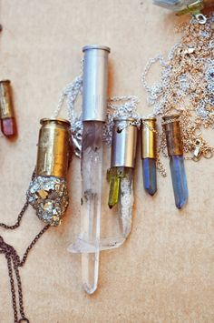 Bullet shells and crystals. I love these!