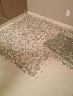 Stenciled concrete floor by Kim Paige