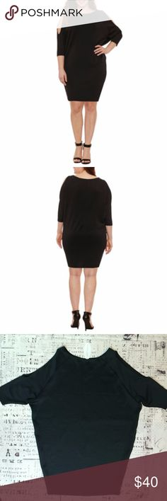 Cold Shoulder 3/4 Sleeve Bodycon Dress  Plus Size Boutique + black cold shoulder bodycon dress. Available in 1X, 2X and 3X. Boutique + Dresses Midi