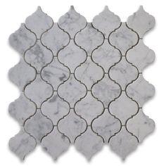 Carrara White Italian Carrera Marble Medium Lantern Shaped Mosaic Tile Honed Stone Center Online lantern shape, carrera marbl, tile hone, mosaic tiles