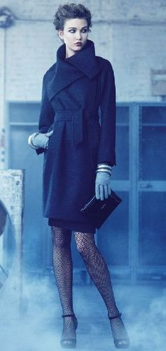 fishnet tights, gloves, and the best coat in the world (seriously, can I get a coat like this?)