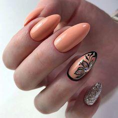 Peach Nail Art, Peach Nails, Orange Nails, Green Nails, Classy Nails, Fancy Nails, Trendy Nails, Gradient Nails, Pastel Nails