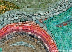The work of mosaic artist Sonia King is covered in this article. Pictured here is Riverscape 1999
