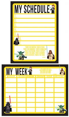 Star Wars schedule set - great for the boy to keep track of his week!