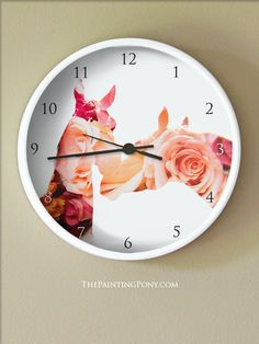 Pretty Horse Lover Clock - Equestrian themed wall clock with two horses nuzzling each other with a pretty roses double exposure photograph overlay. Horsey stuff for the home decor or barn tack room