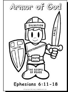 Armor Of God Activity Coloring Pages Bible Study CraftsPreschool
