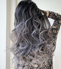 ラベンダーシルバーアッシュのバレイヤージュ Ombre Hair, Long Hair Styles, Hair Coloring, Beauty, Makeup, Pretty Hair, Gray, Make Up, Long Hairstyle