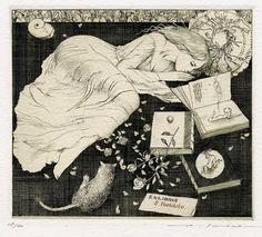 womenandcats:  Ex Libris byAlphonse Inoue