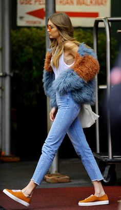 Grey and tan Mongolian fur jacket | Gigi Hadid | spring fashion