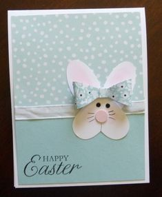 Happy Easter - handmade Easter card … punch art bunny face from a heart . paper bow … luv the soft colors … - Cricut Cards, Stampin Up Cards, Kids Cards, Baby Cards, Arte Punch, Punch Art Cards, Greeting Cards Handmade, Handmade Easter Cards, Diy Easter Cards